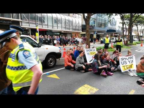 Mass Arrests at Anti TPPA Protest Wellington New Zealand
