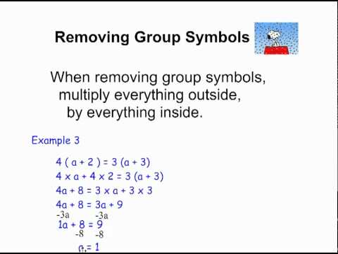 Equations Removing Grouping Symbols Youtube