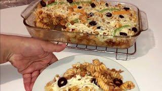 طبق مكرونة بيتزا روعة في المذاق/ pasta pizza