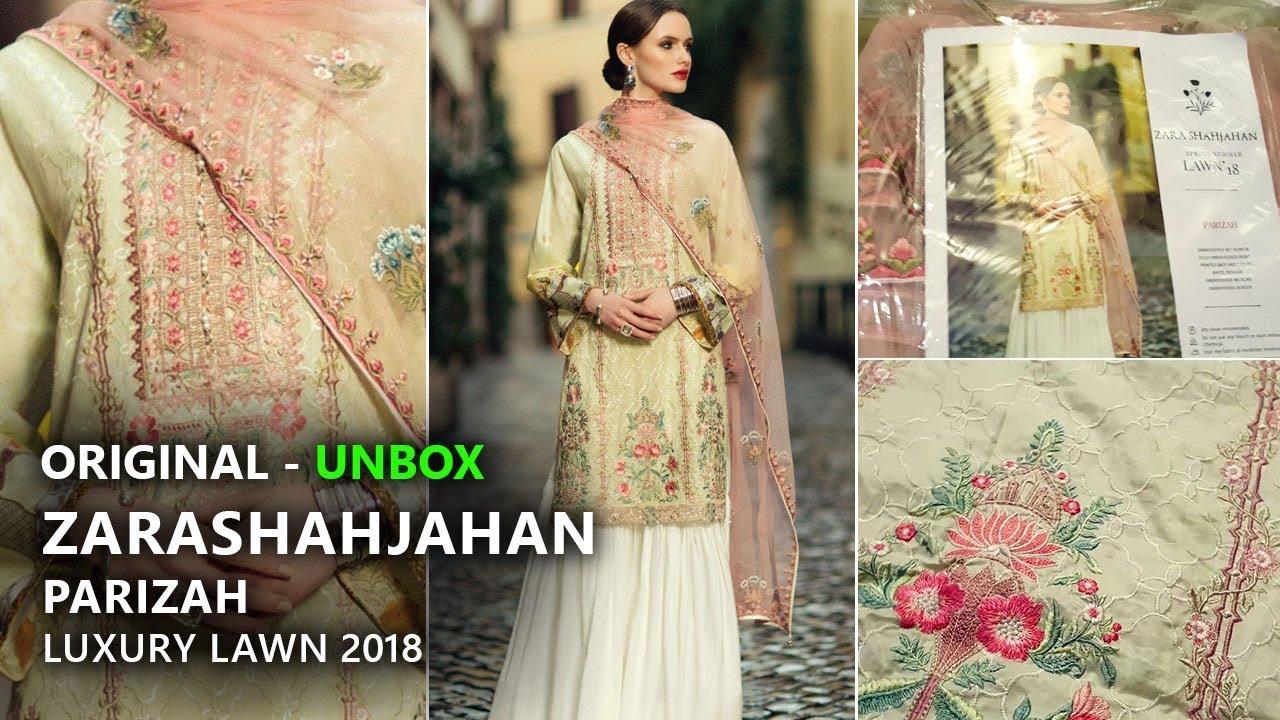 5d5a66ea Zara Shahjahan Lawn Collection 2018 - Unbox ZSJ12 Parizah - Pakistani  Branded Dresses