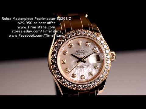 Rolex Masterpiece Pearlmaster Datejust 18k White Gold 80298 Z MOP Serti