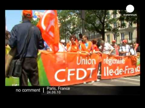 Demonstration in Paris to protest at government retirement reforms- no comment