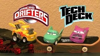 Cars 2 Freestyle Micro Drifters Skateboards Hot Rod Funny Car Mater Disney Tech Deck Stunt Ramp FLO