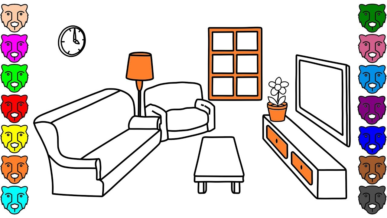 Coloring Pages for Kids with Living Room - How to Draw ...