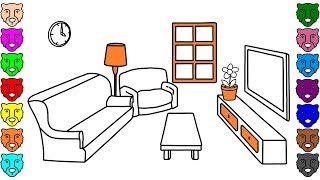 Coloring Pages for Kids with Living Room - How to Draw Livingroom Coloring Book for Children