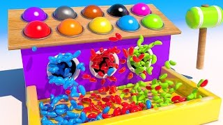 Learn Colors with Jelly Beans Wooden Balls and Hammer