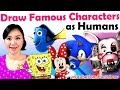 ART CHALLENGE - Draw Famous Cartoon + Game Characters as HUMANS