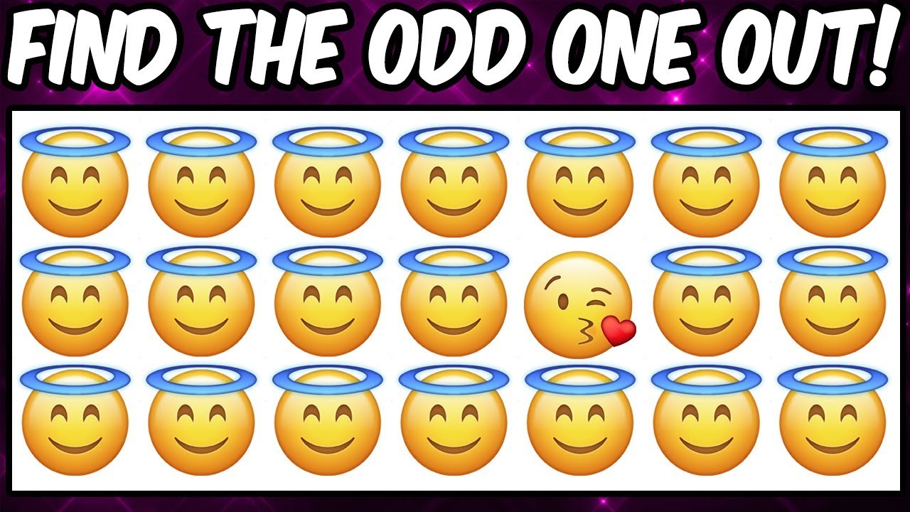 Find The Odd Emoji Out Emoji Puzzle Brain Game For Kids Spot The Difference Puzzle Quiz