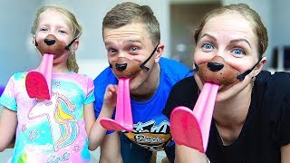 Milana and Family play Doggie Active and fun game for kids