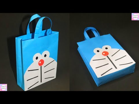 How to make Paper Bag/ DIY Doraemon Paper Bag/DIY Paper bag for treat/DIY Goodie bag /candy bag