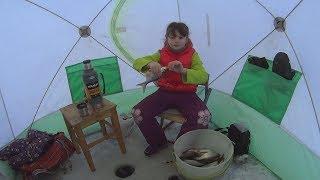 Соня на зимней рыбалке и термос STАNLEY. Ловля крупной плотвы на мормышку.