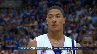Derrick Rose Full Highlights 2008 NCAA Finals vs Kansas - 18 Pts, 8 Assists