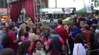 DWTS Elizabeth Berkley posing with fans in NYC