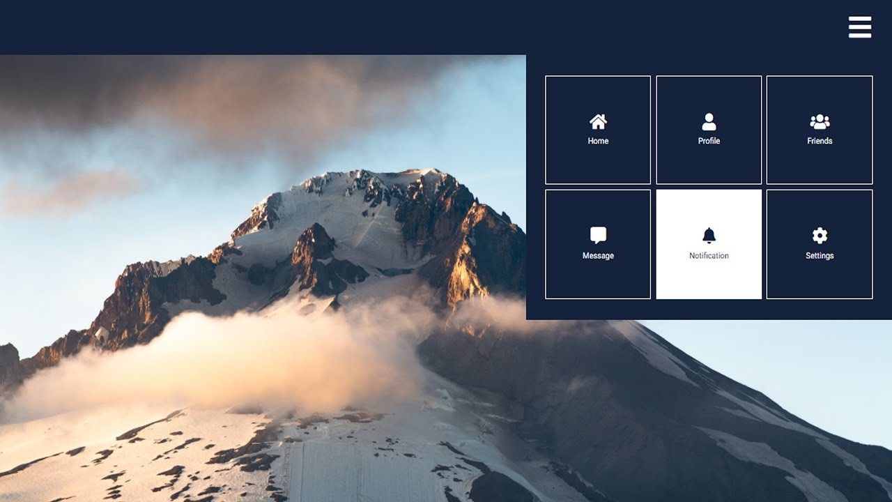Awesome Navigation menu with HTML CSS and JAVASCRIPT