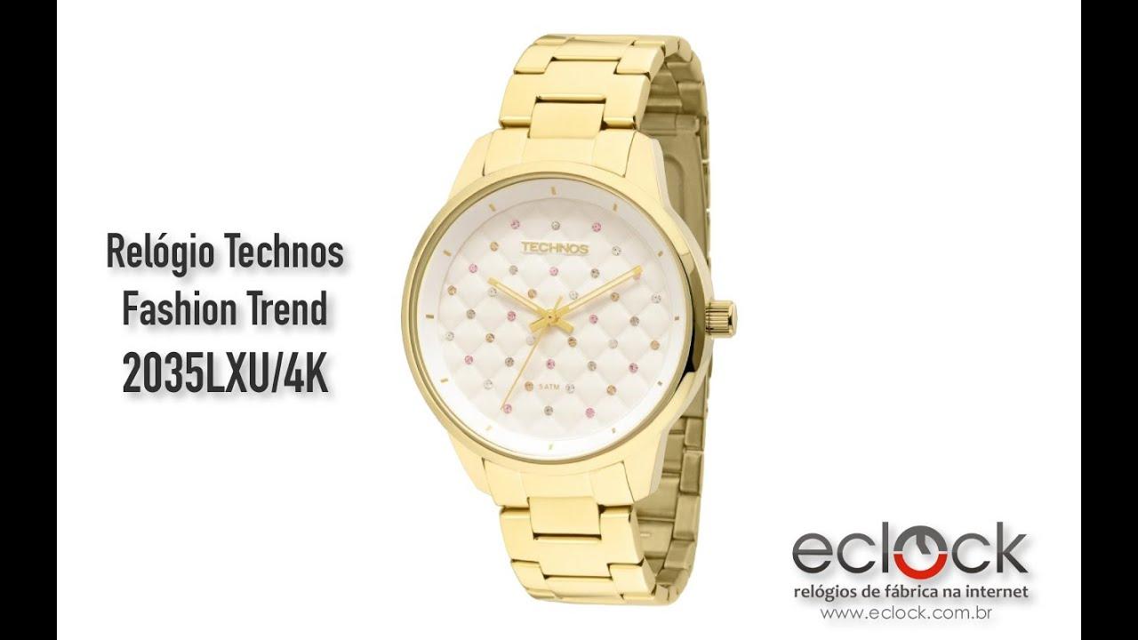 16f037c7b0 Relógio Technos Feminino Fashion Trend 2035LXU 4K - Eclock - YouTube