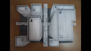 How to draw - one point perspective, 3d illusion, high-rise buildings, bird