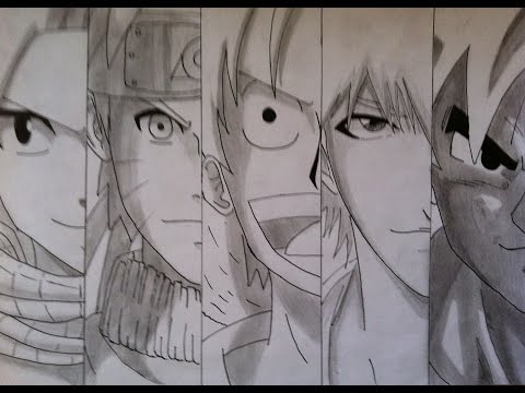 Speed drawing anime heroes