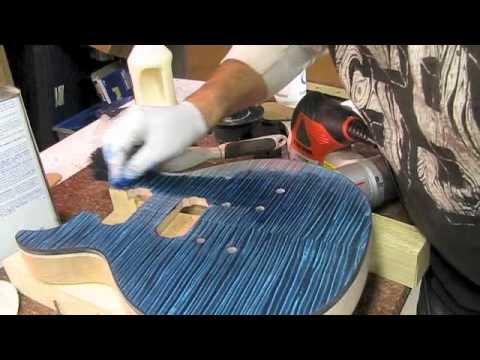 How to blue burst a Les Paul DC Project Guitar Top Luthier Building Bursting poor mans prs transtint