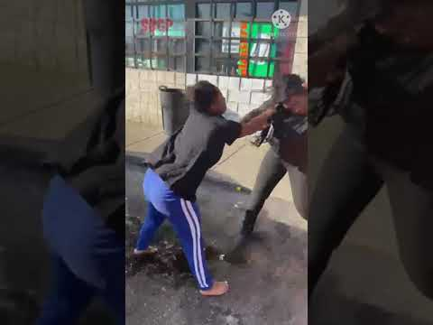 Crazy girl fight in hood car park