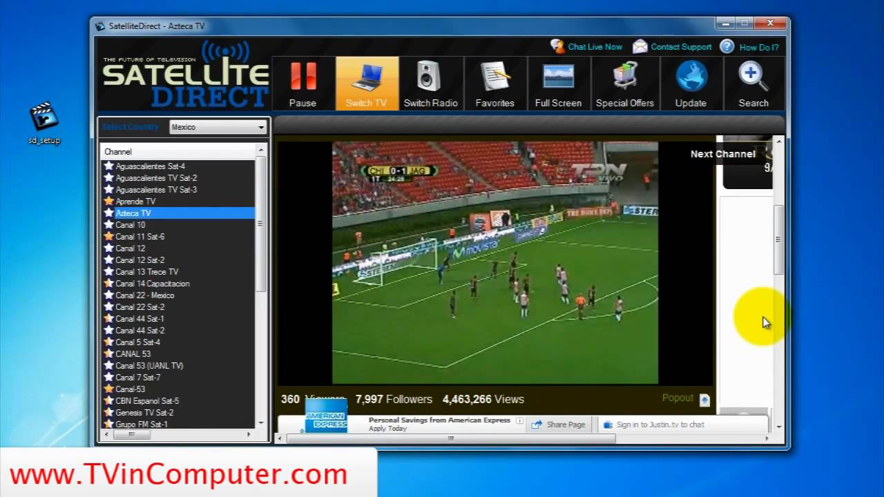 Live Soccer - Satellite Direct TV to PC Software Review With Full On Screenshots - YouTube
