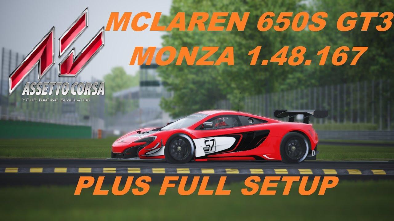 assetto corsa mclaren 650s gt3 monza 1.48.167 plus full setup tyre
