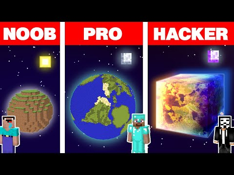Minecraft NOOB vs PRO vs HACKER: SPACE PLANET HOUSE BUILD CHALLENGE Minecraft Animation |