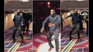 LeBron has some crazy dance moves ahead of Cavaliers player intros vs Detroit