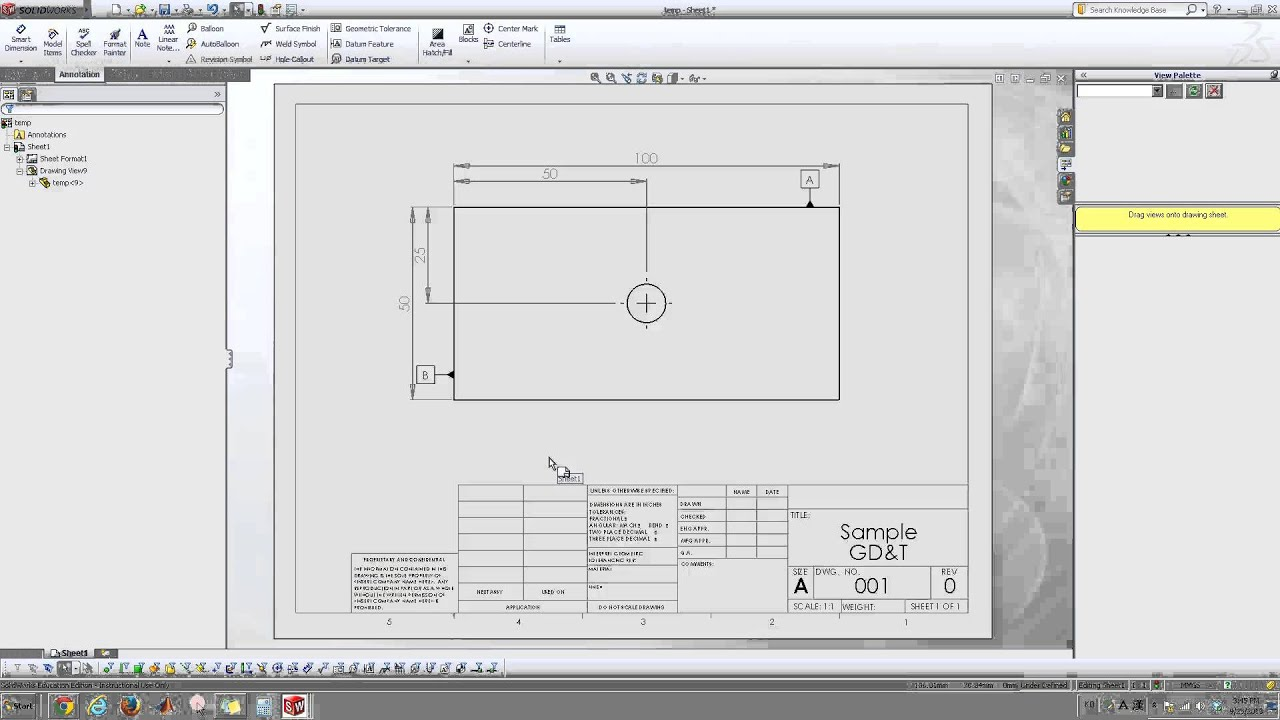 Datum and geometric tolerance in solidworks drawings youtube datum and geometric tolerance in solidworks drawings malvernweather Choice Image