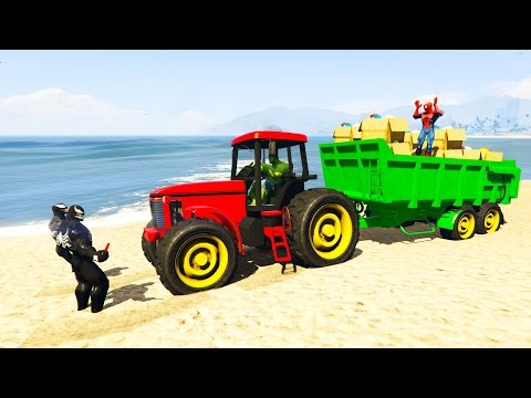 Venom TRAPPED tractor with Delivery Toys of Mickey! Spiderman Cartoon for kids