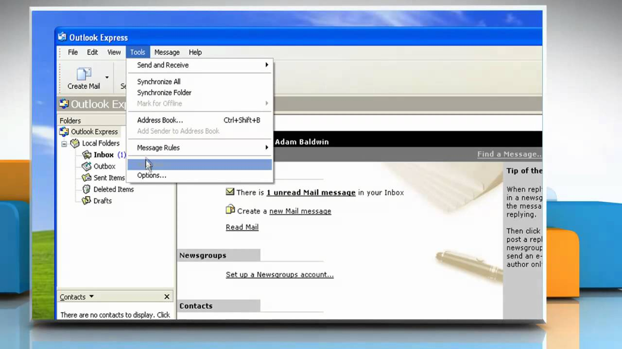 Microsoft® Outlook Express : How to copy the message file on Windows® XP?