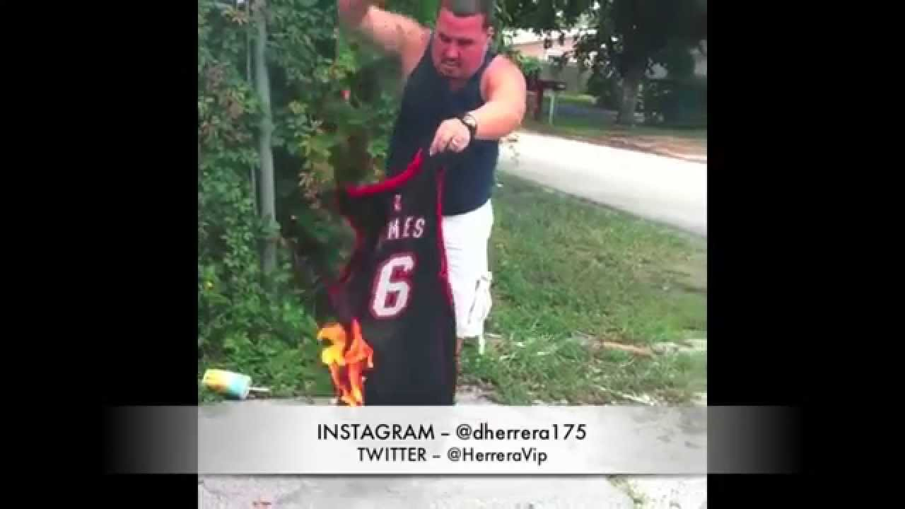 Miami Heat Fans Burn Their Lebron Jersey And Merchandise ...