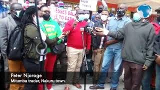 Mitumba traders protest in Nakuru Town