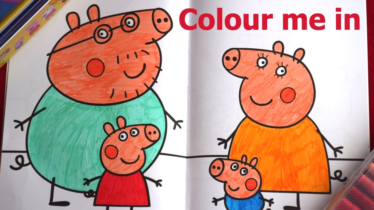 peppa u0026 george pig colouring for fun colour the whole peppa pig