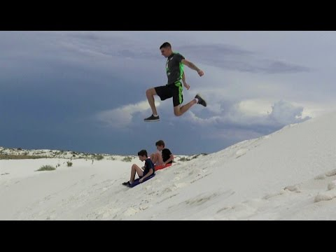 4K Who Needs Snow? Sand Sledding: Trying To Fly. Fun Nature Travel.