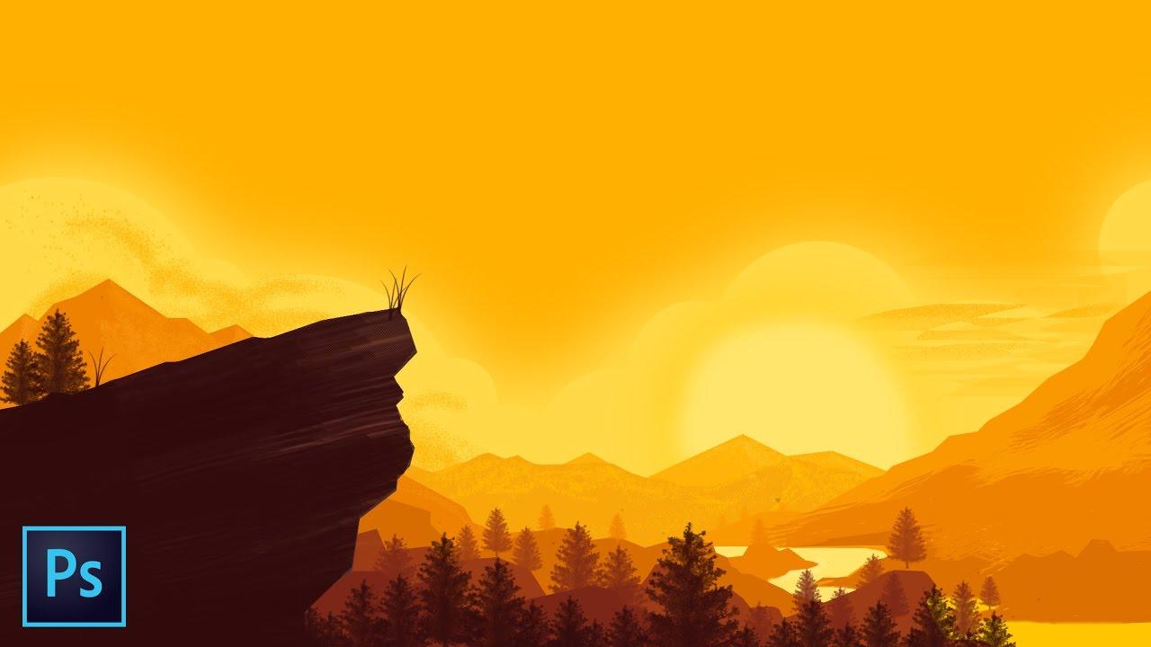 FLAT DESIGN #8 Flat landscape - Adobe Photoshop - YouTube