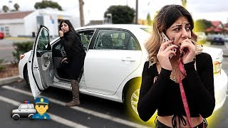CRAZY STOLEN CAR PRANK GONE WRONG!! (SHE CALLED 911)
