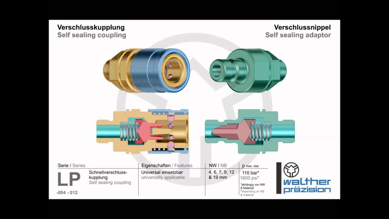 """Verschlussnippel  1//2/"""" Kupplung WALTHER-PRÄZISION KL-012 Verschlusskupplung"""