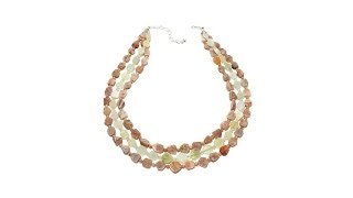 Jay King 3Row Sunstone and Serpentine Necklace