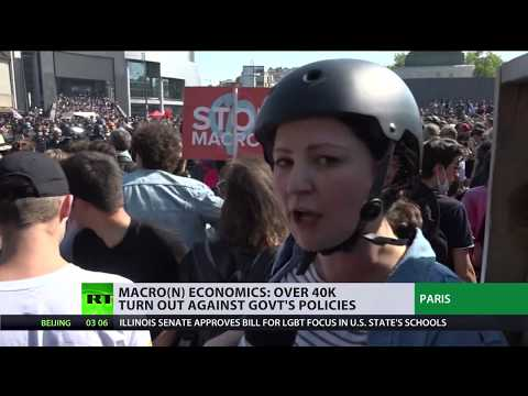 'Party for Macron': 40K+ people march in Paris against labor law change
