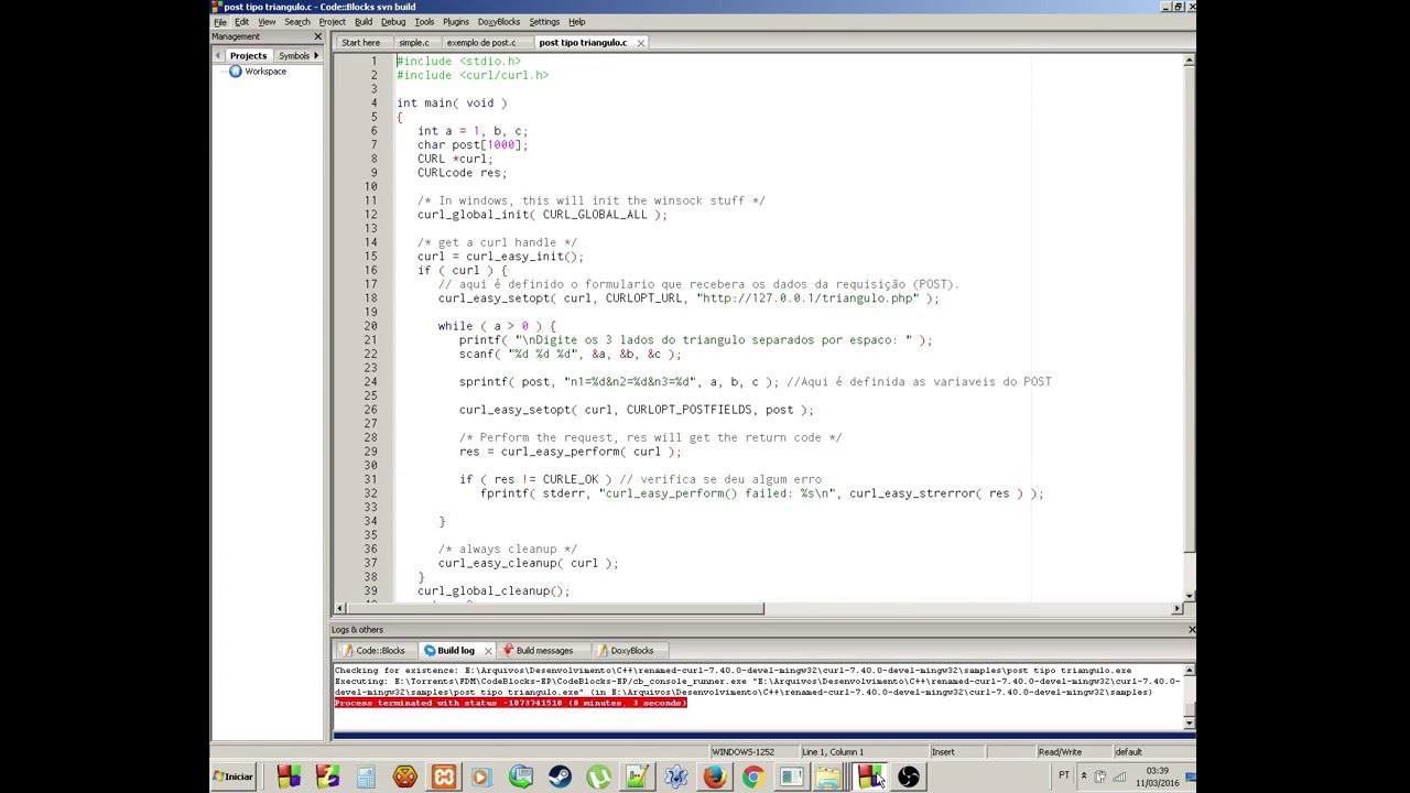 Instalar LibCurl No Codeblocks E Enviar Um POST Para Arquivo PHP Com A Linguagem C