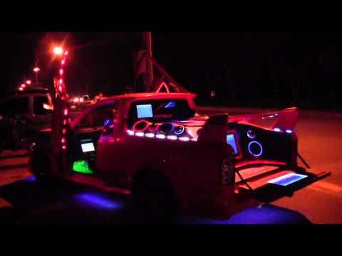 Amazing led lights display on a van in Thailand