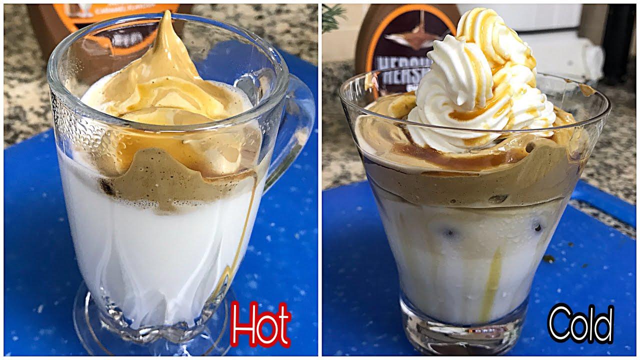 Easy,Trending Dalgona Caramel cold coffee   Hot cappuccino ...