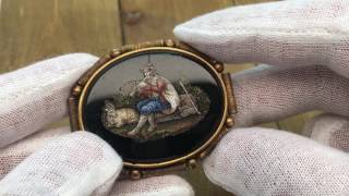 Antique Victorian Micro Mosaic Pietra Dura Brooch Pin - Fine Jewelry
