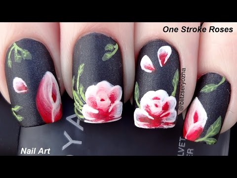 One Stroke Roses Nail Art Tutorial Youtube