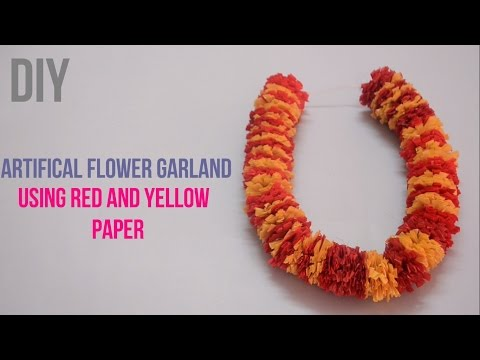 Artifical garland using red and yellow paper  Paper Garland    Creative Indian Arts   #15