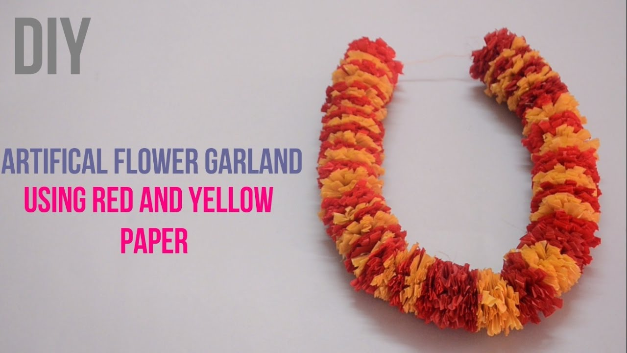 Artifical Garland Using Red And Yellow Paper Creative Indian Arts 15