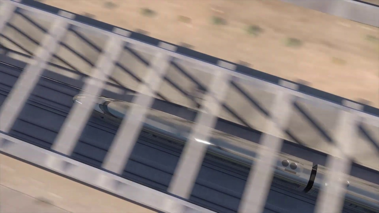 An animated rendering of a high-speed rail train passing through the Fresno Trench and State Route 180 Passageway.