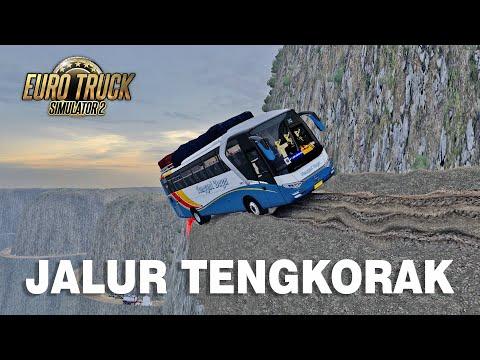 Aksi Nekat Bus Tunggal Daya Lewat Jalur tengkorak - ETS2 MOD INDONESIA - 동영상