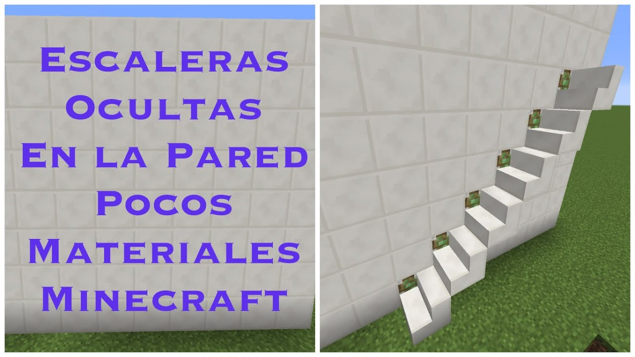 escaleras ocultas en la pared pocos materiales minecraft