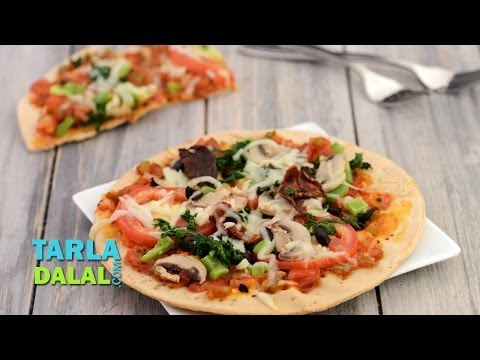 Tomato, Mushroom and Spinach Pizza (Diabetic Recipe) by Tarla Dalal
